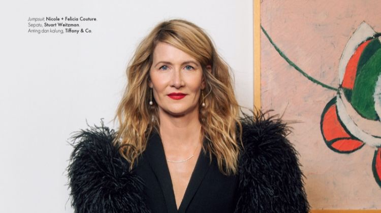 Actress Laura Dern wears Nicole + Felicia Couture jumpsuit