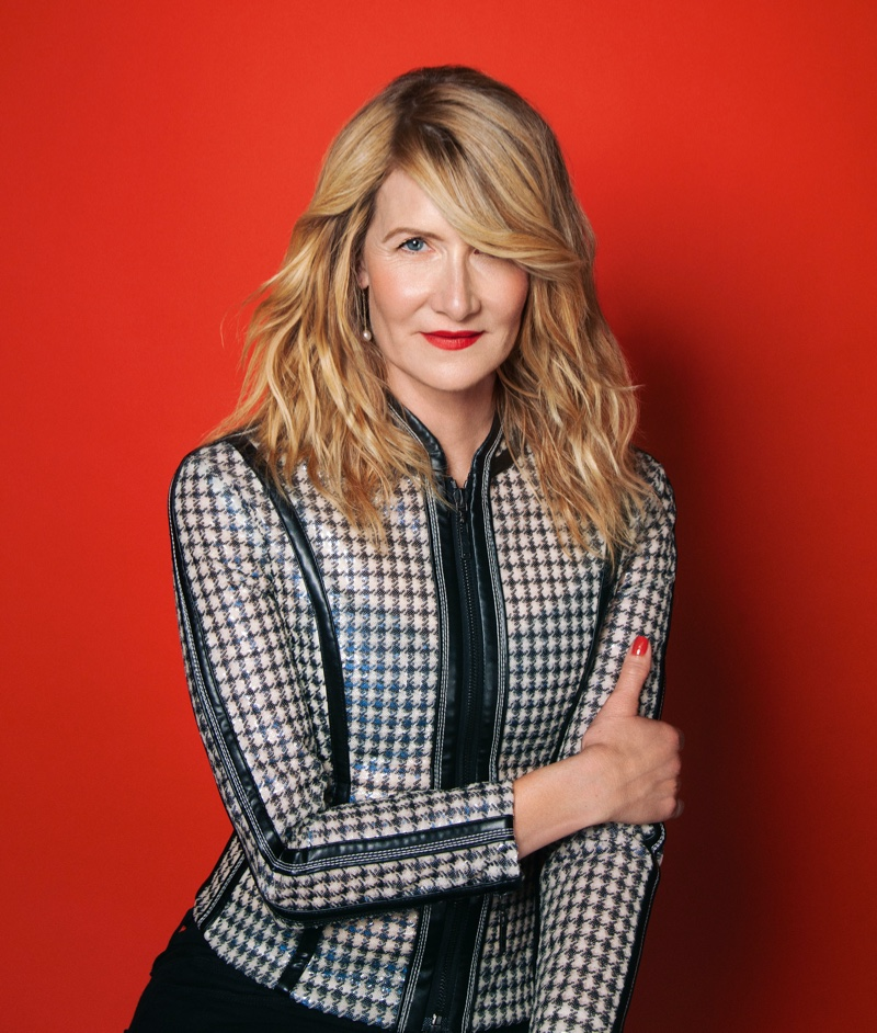 Actress Lauren Dern poses in Louis Vuitton top and pants with Tiffany & Co. jewelry