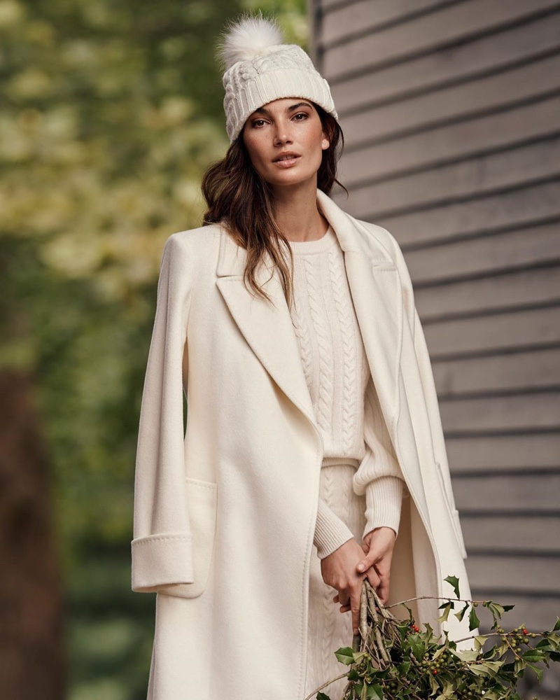 Dressed in white, Lily Aldridge fronts Lauren Ralph Lauren Holiday 2019 campaign