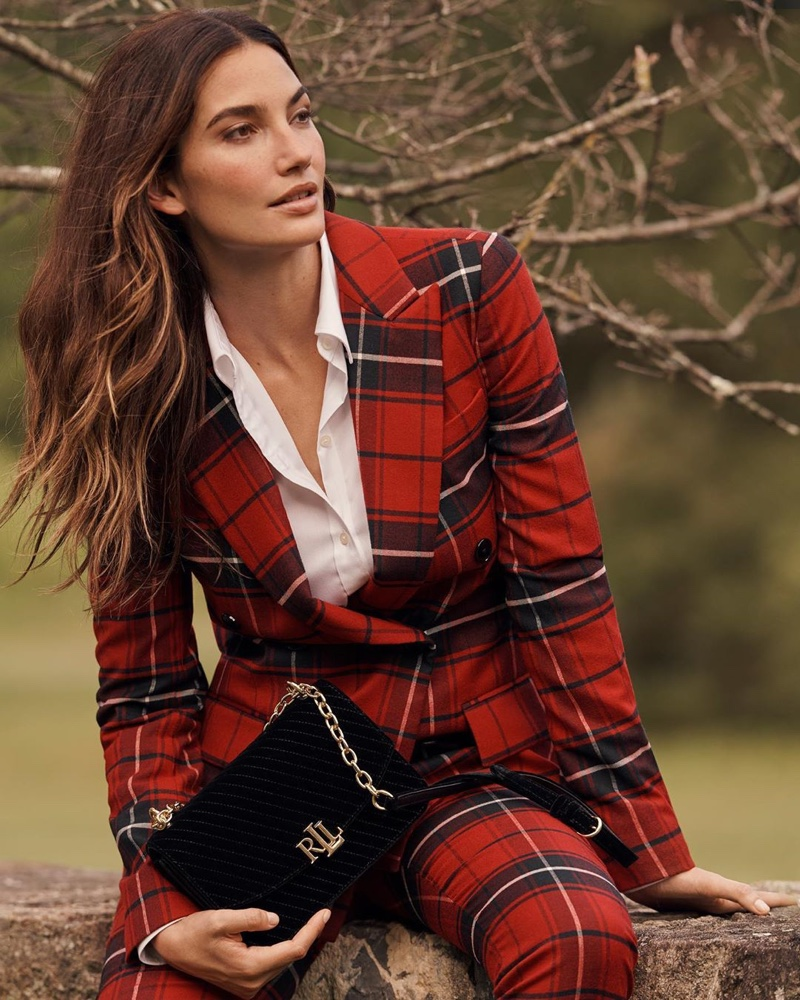 Model Lily Aldridge wears plaid blazer and trousers in Lauren Ralph Lauren Holiday 2019 campaign
