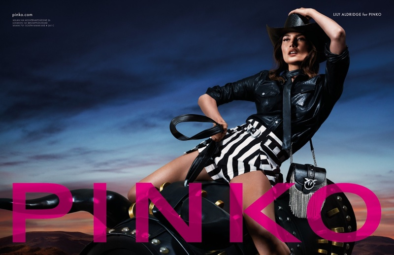 Lily Aldridge wears western inspired looks for Pinko spring-summer 2020 campaign