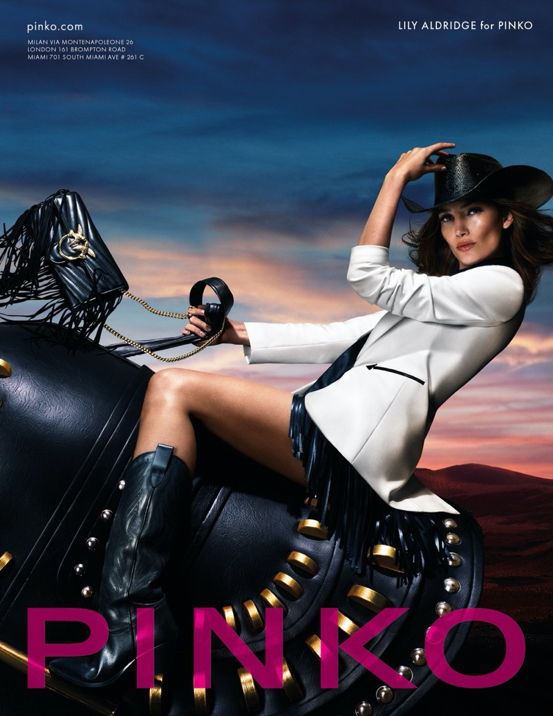 Riding a horse, Lily Aldridge fronts Pinko spring-summer 2019 campaign