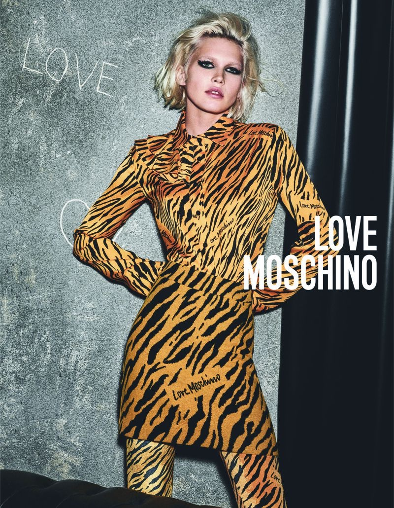 Tiger stripes stand out in Love Moschino fall-winter 2019 campaign