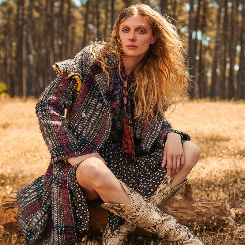 Posing outdoors, Olga Sherer fronts Manila Grace fall-winter 2019 campaign