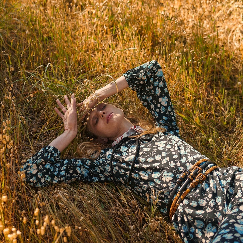 Wearing floral print, Olga Sherer appears in Manila Grace fall-winter 2019 campaign
