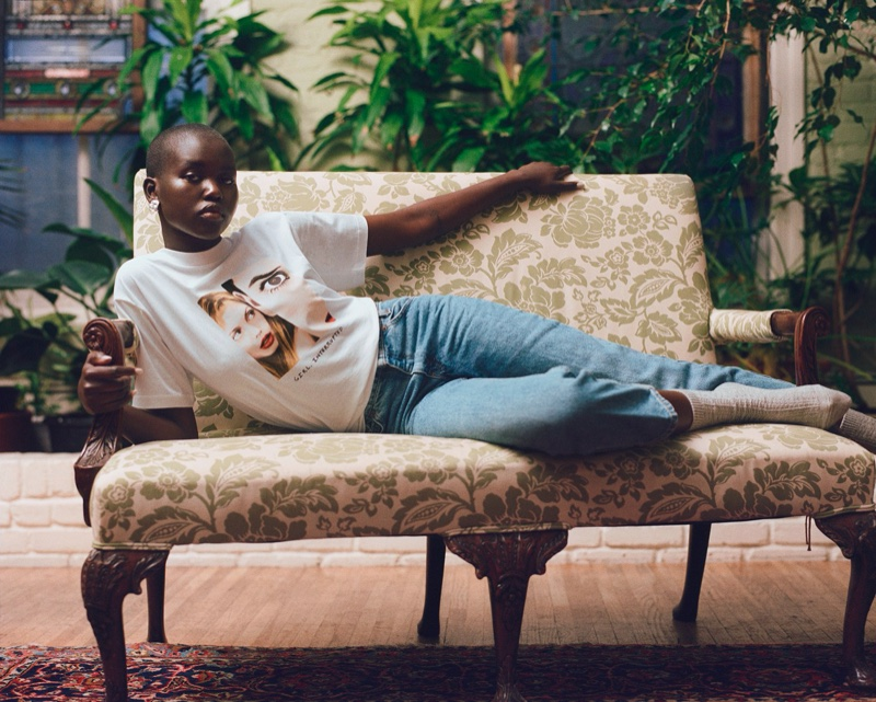 An image from the Marc Jacobs x Girl, Interrupted campaign starring Adut Akech