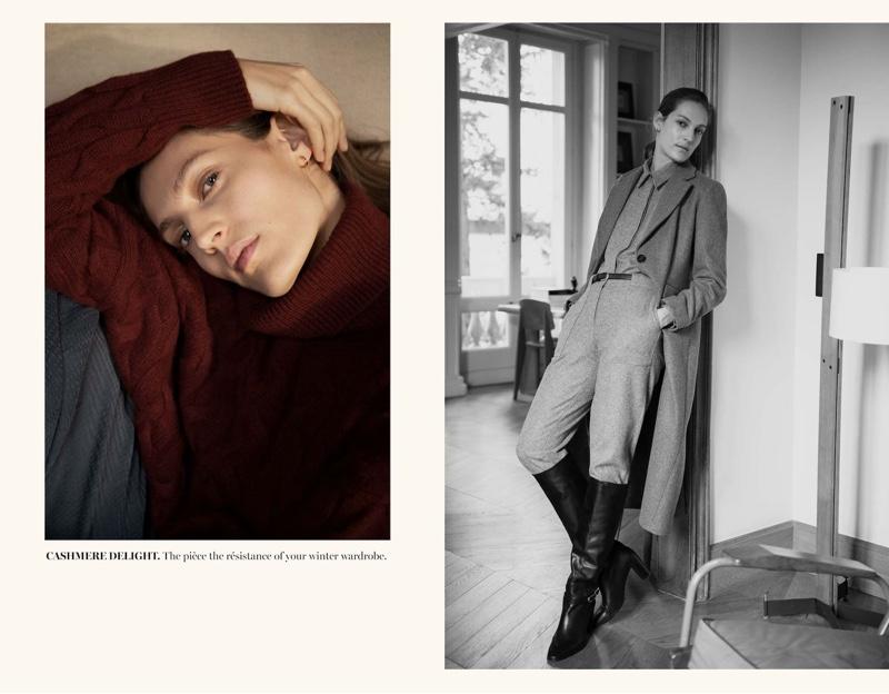 Model Othilia Simon wears winter styles from Massimo Dutti