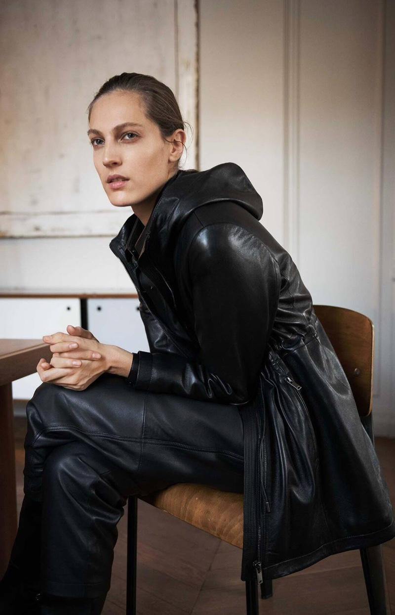 Clad in black, Othilia Simon wears leather styles from Massimo Dutti