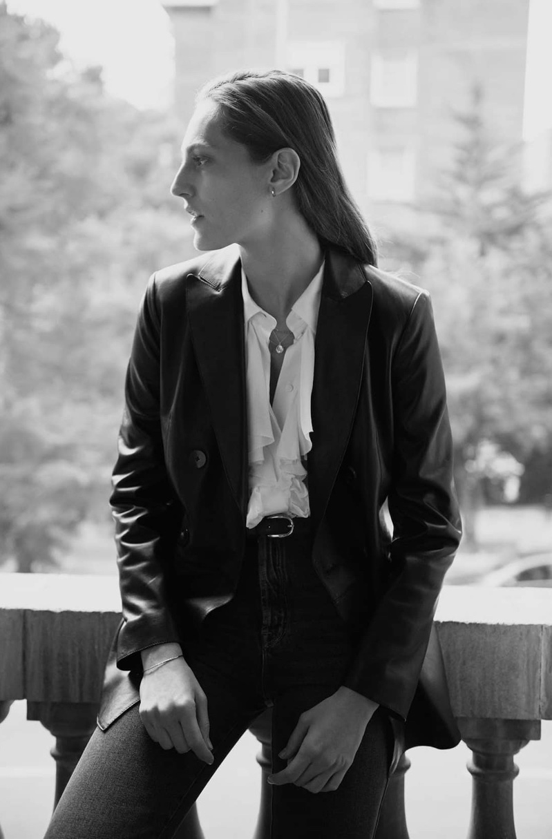 Suiting up, Othilia Simon poses in Massimo Dutti Beyond Purpose December 2019 lookbook