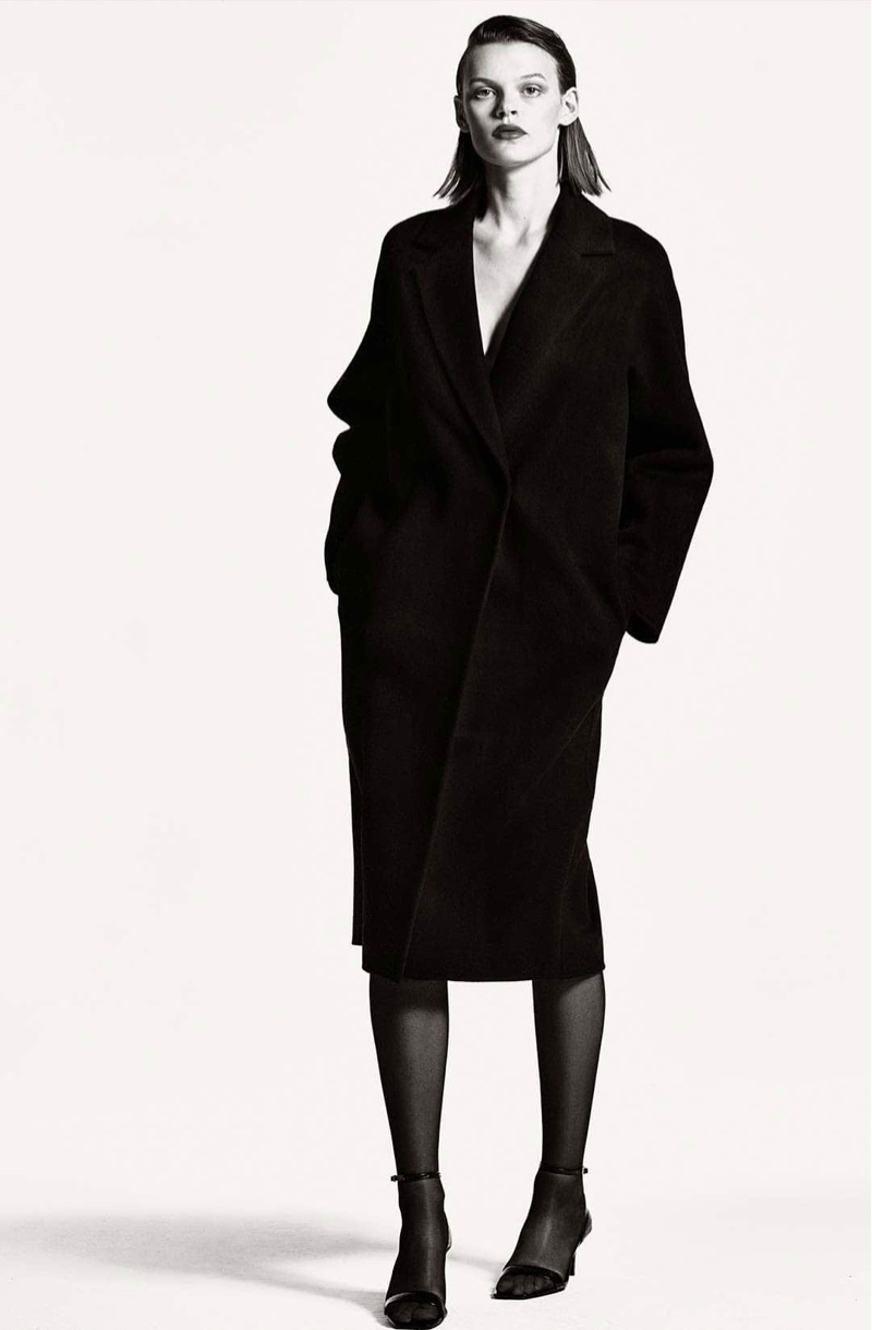 Massimo Dutti Hand-Tailored Black Quilted Wool Coat and Mock Croc Heeled Sandals