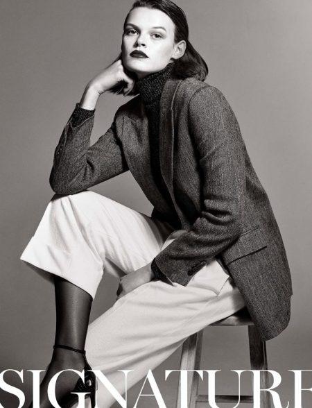 Cara Taylor Models Massimo Dutti's Signature Fashions