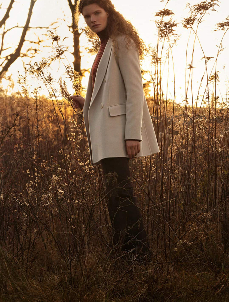 Massimo Dutti Handmade Wool Coat, Ribbed High Neck Sweater and Straight Fit Wool Trousers