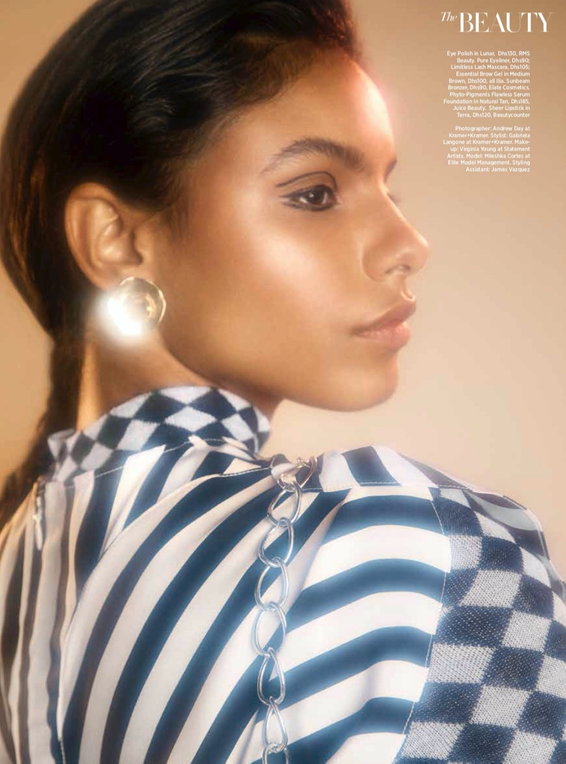 Mileshka Cortes Models 80's Beauty for Harper's Bazaar Arabia