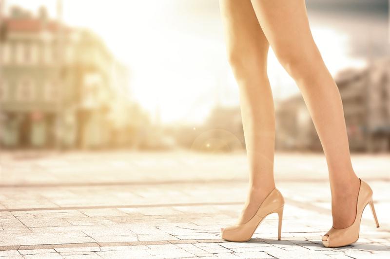 Model Legs Beige Heels Sun