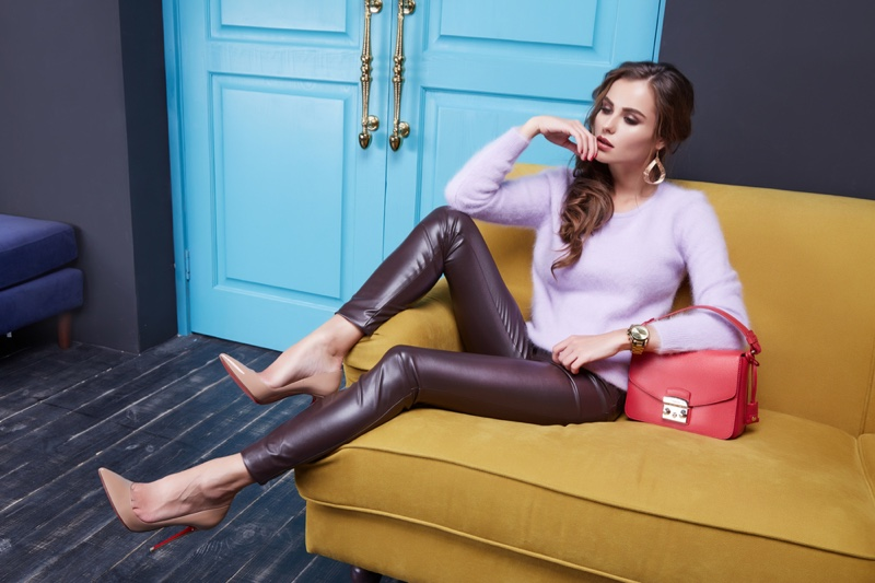 Model Pink Sweater Leather Leggings Pumps Bag Couch