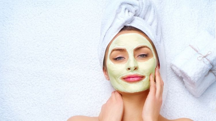 Model Wearing Green Face Mask Beauty Spa