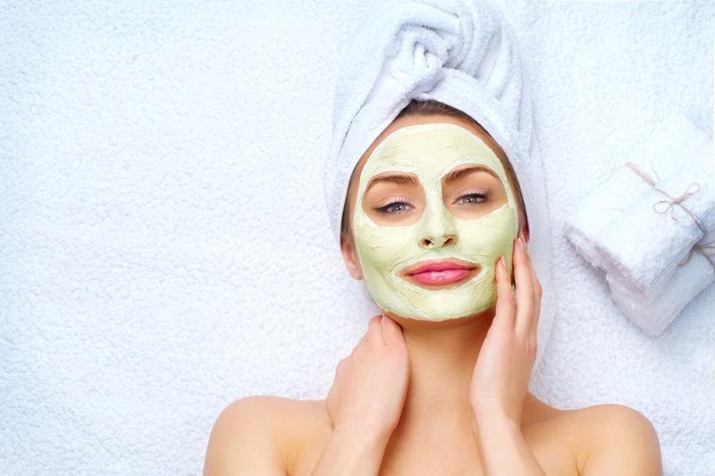 Model Wearing Green Face Mask Beauty Spa