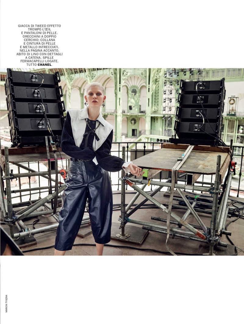 Ola Rudnicka Strikes a Pose in Chanel for Marie Claire Italy