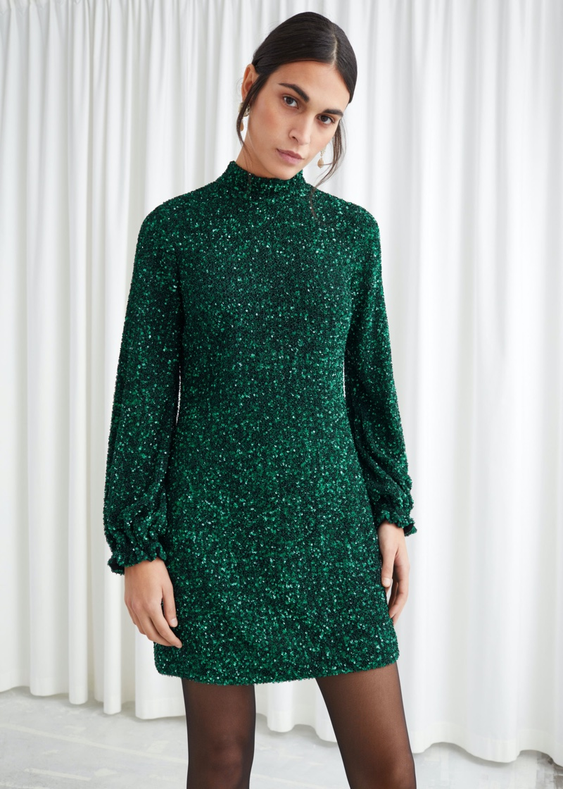 & Other Stories Balloon Sleeve Sequined Mini Dress $149