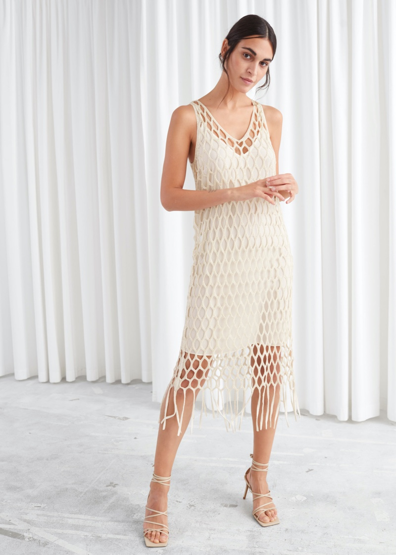 & Other Stories Metallic Braided Midi Dress $179