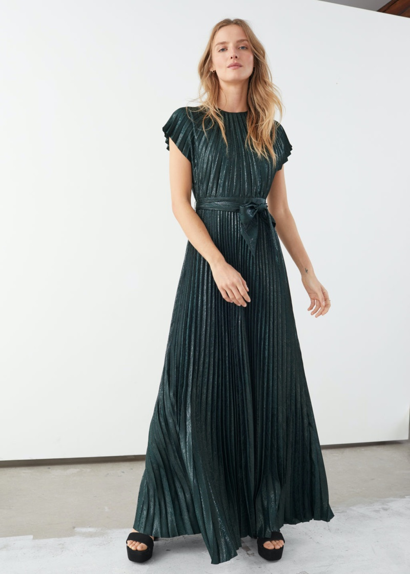 & Other Stories Metallic Pleated Maxi Dress in Green $179