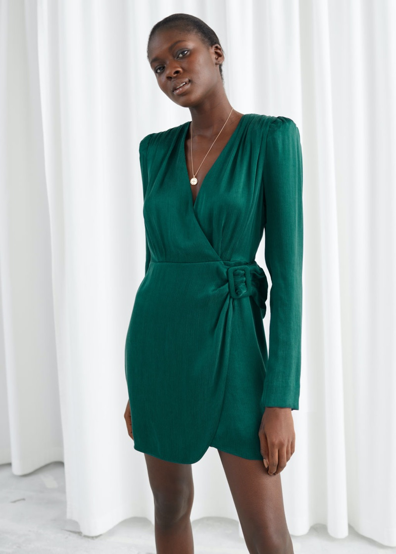 & Other Stories Satin Buckle Tie Mini Wrap Dress in Green $119