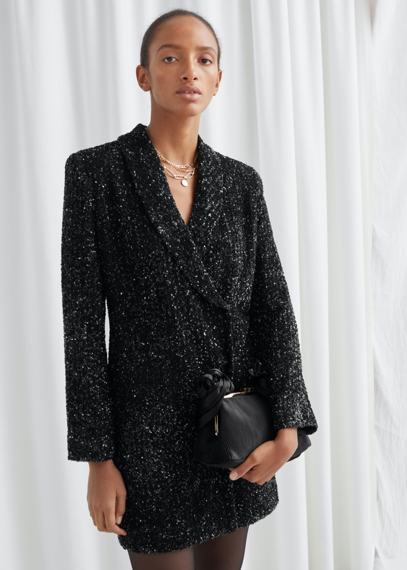 & Other Stories Sequin Double Breasted Blazer Dress $179