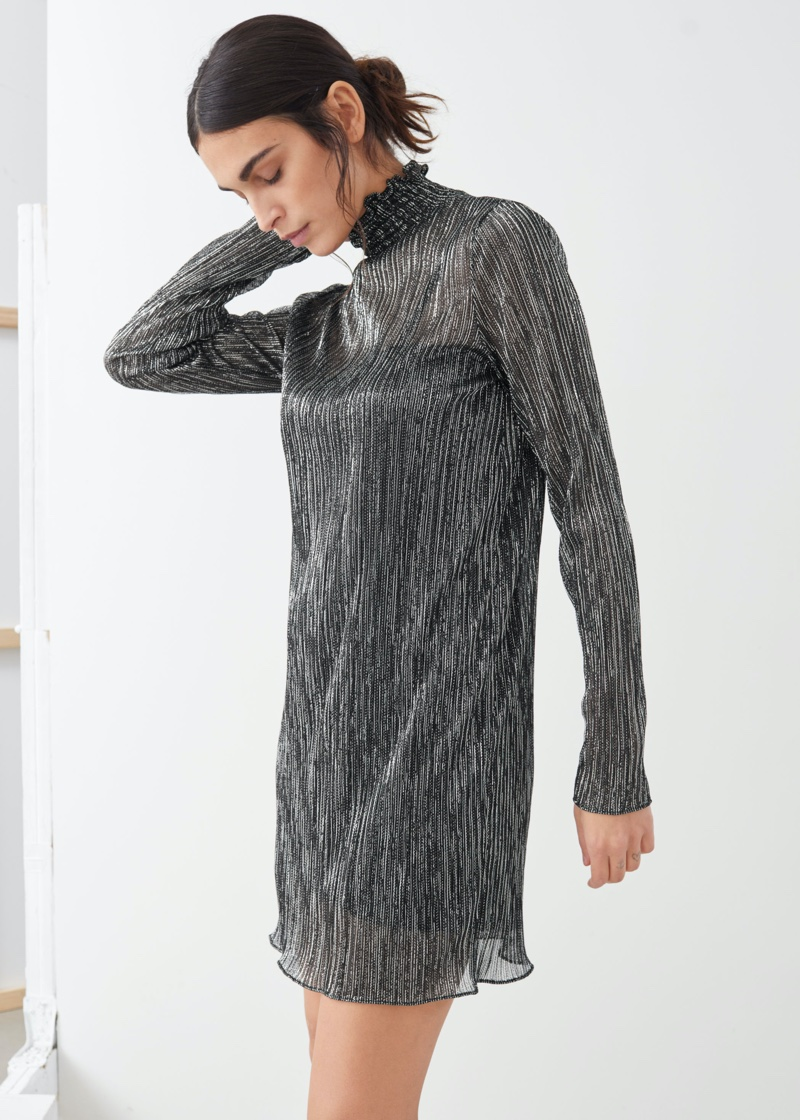 & Other Stories Smocked Turtleneck Mini Glitter Dress $69