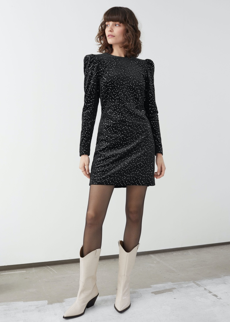 & Other Stories Velvet Sequined Mini Dress $99
