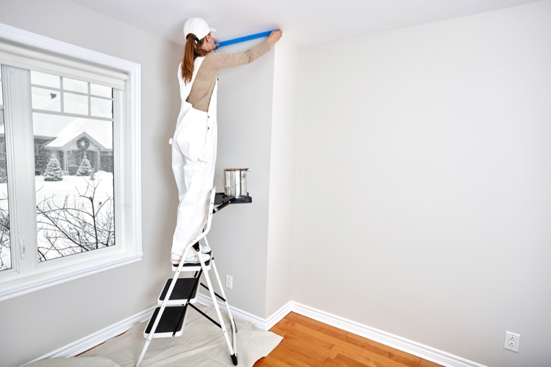 Painter Woman Masking Tape Overalls Room