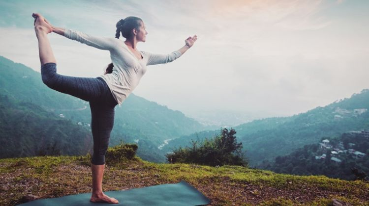 Practicing Yoga Outdoors Pose Woman