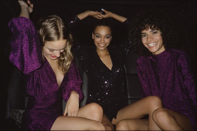 Alana Champion, Alexis Sundman and Fernanda Oliveira pose in Pull & Bear Holiday 2019 party lookbook