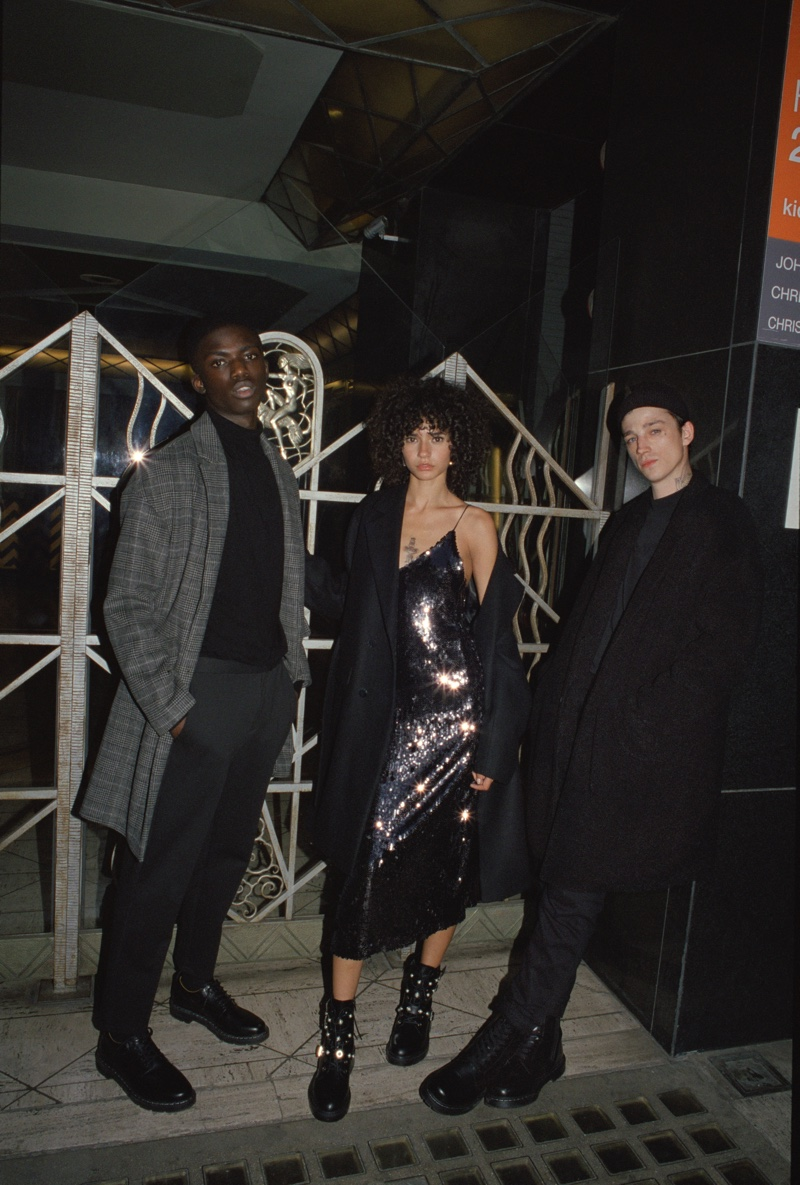 Models dress in black for  Pull & Bear holiday 2019 party trend guide