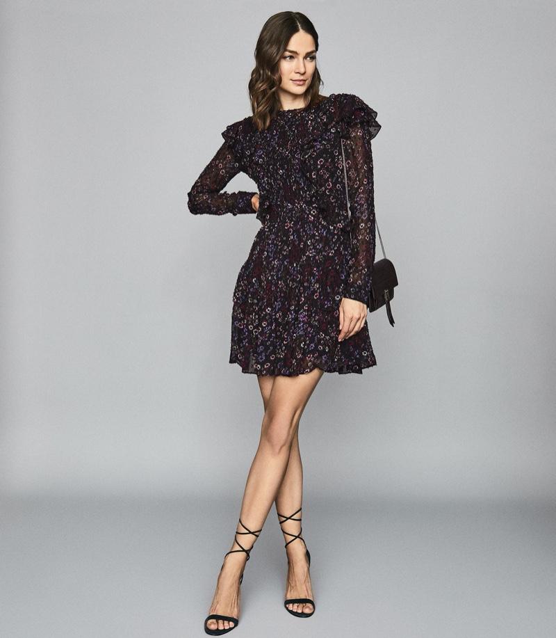 REISS Carey Floral Printed Ruffle Mini Dress $425