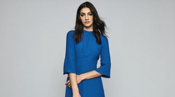REISS Cora Bell Sleeve Shift Dress in Cobalt Blue $330