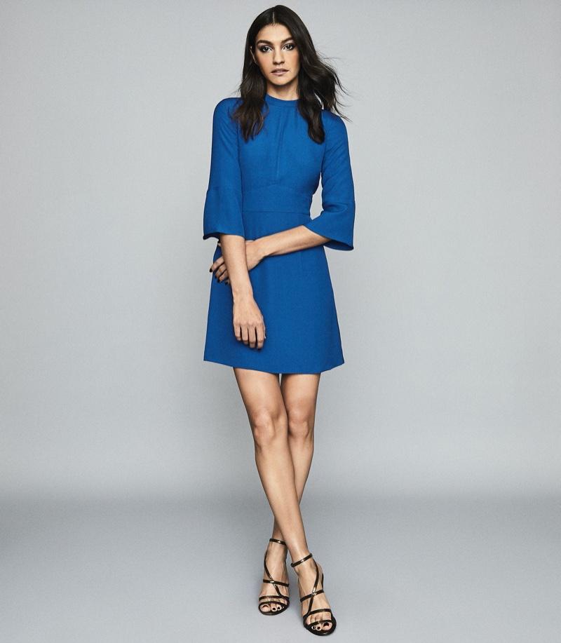 REISS Cora Bell Sleeve Shift Dress in Cobalt Blue $330