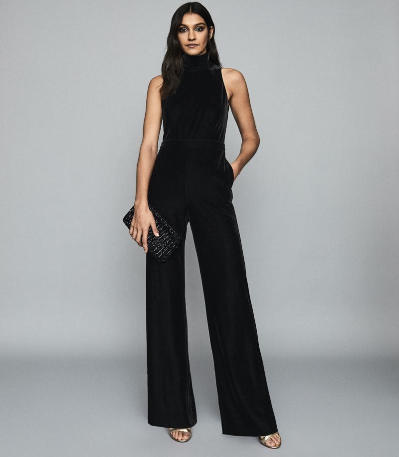 REISS Dori Velvet Open Back Jumpsuit $330