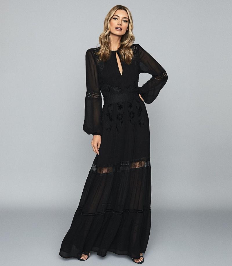 REISS Francesca Open Back Lace Maxi Dress $660