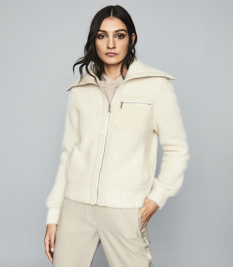 REISS Gina Boucle Zip Through Cardigan $330
