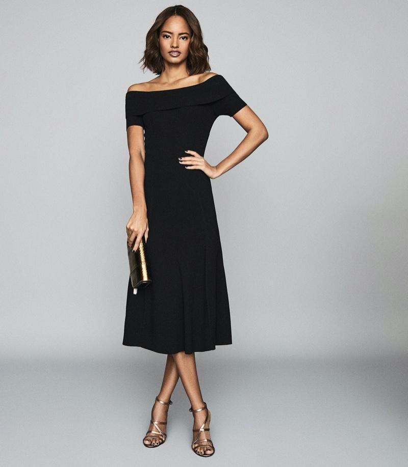REISS Melissa Bateau Neckline Midi Dress $370