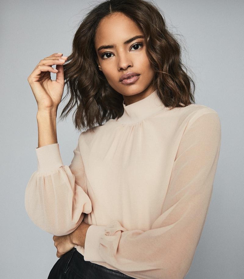 REISS Sandrine Semi Sheer Blouse in Blush $220