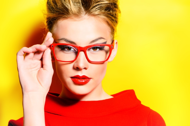 Red Framed Glasses Red Top Lipstick Blonde Model