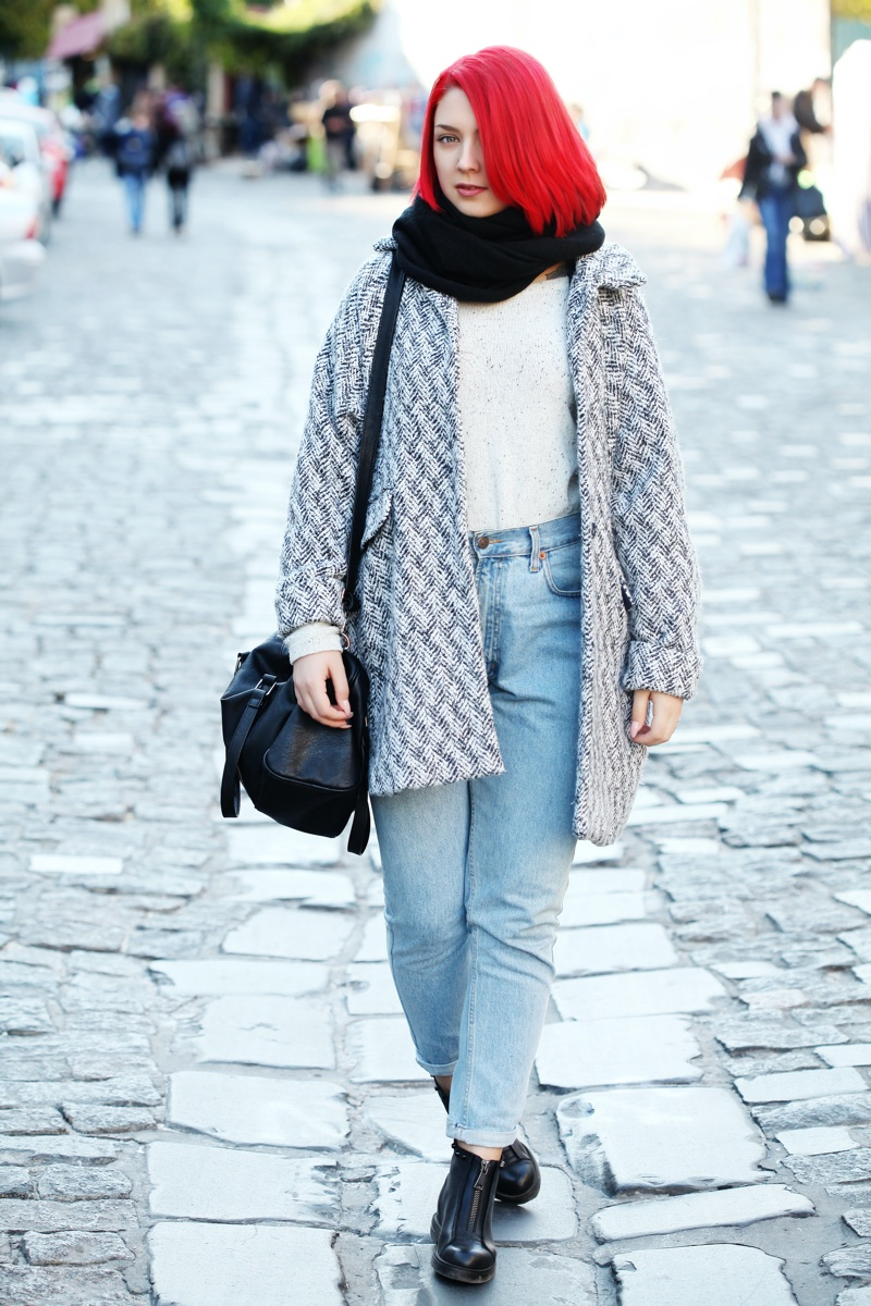 Red Hair Woman Boyfriend Jeans Jacket Scarf Boots