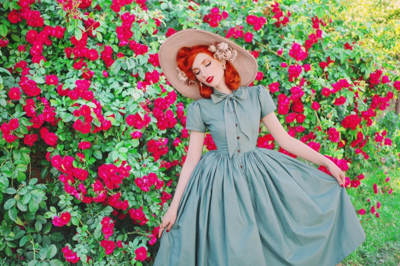Redhead Model Retro Dress Straw Hat Flower Wall