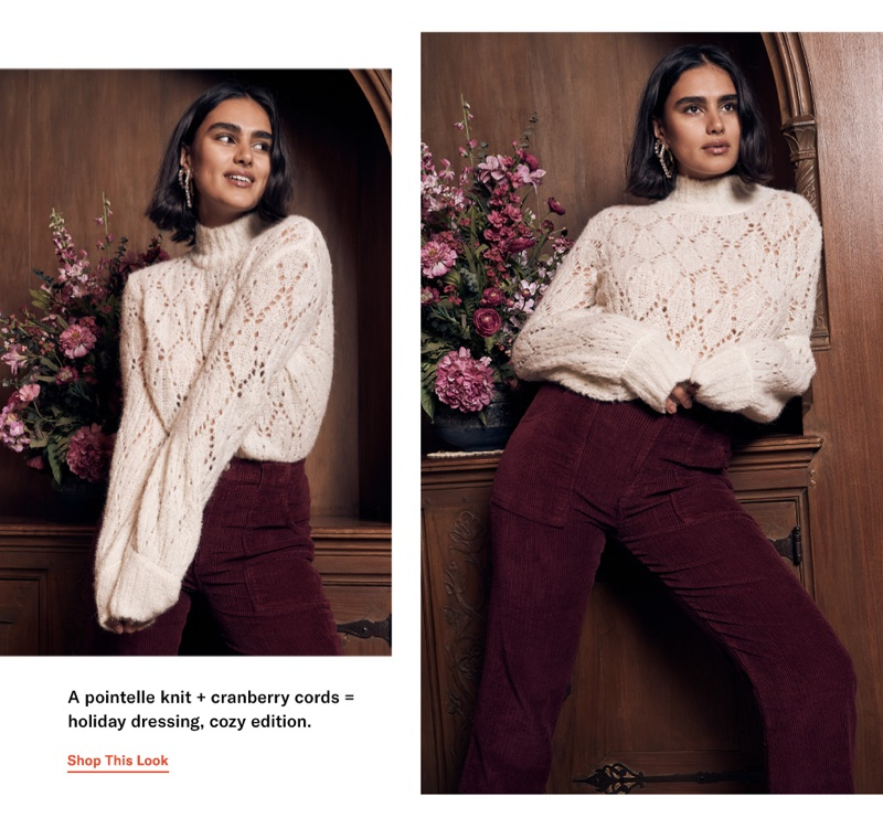 Reformation Lexi Sweater $228, Daphne Corduroy Pants $148 and Area Medium Classic Square Hoops $215