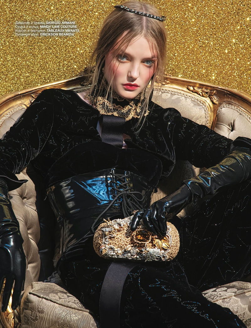Roos Abels Wears Festive Holiday Looks for Numero Russia