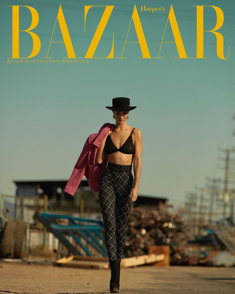 Rosie Huntington-Whiteley Models Sleek Fashions for Harper's Bazaar Greece