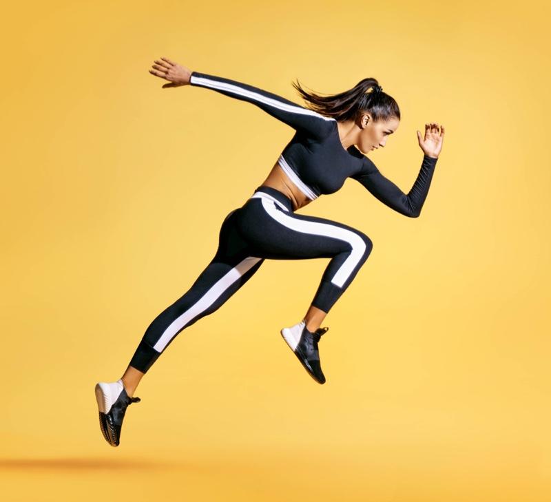 Running Model Sporty Black White Crop Top Pants Sneakers
