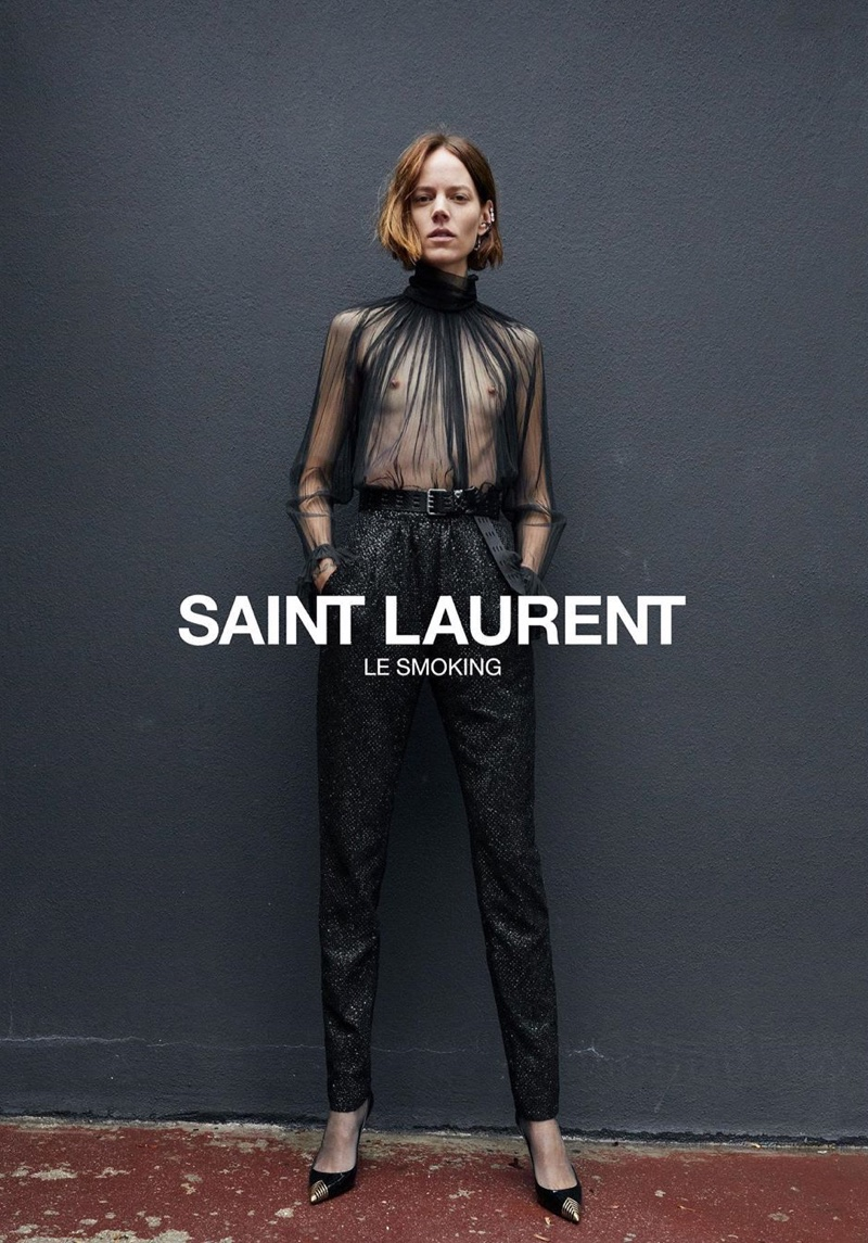 Freja Beha Erichsen appears in Saint Laurent Le Smoking 2019 #YSL28 campaign