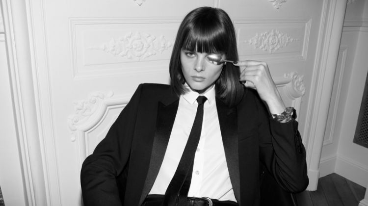 Suiting up, Aylah Peterson poses in Saint Laurent fashion